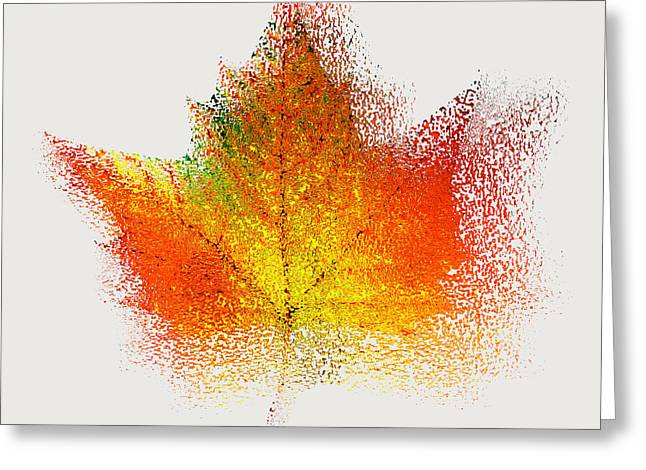 Autumn Abstract Colorful Orange Green Yellow Nature Fine Art Photograph Digital Painting Greeting Card by Artecco Fine Art Photography