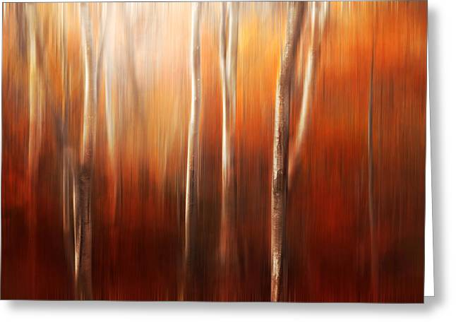 Tree Abstract Greeting Cards - Autumn Abstract Greeting Card by Magda  Bognar