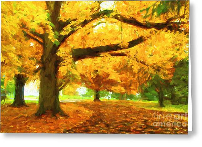 Paint Effect Greeting Cards - Autumn Abstract Greeting Card by Paul W Faust -  Impressions of Light