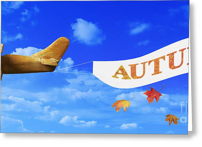Toy Planes Greeting Cards - Autumn Advertising Banner Greeting Card by Amanda And Christopher Elwell