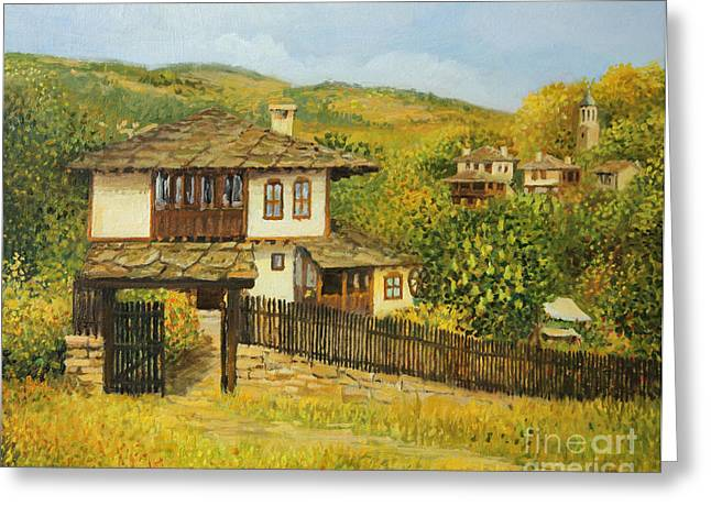 Bulgaria Paintings Greeting Cards - Autumn Afternoon in Bojenci Greeting Card by Kiril Stanchev