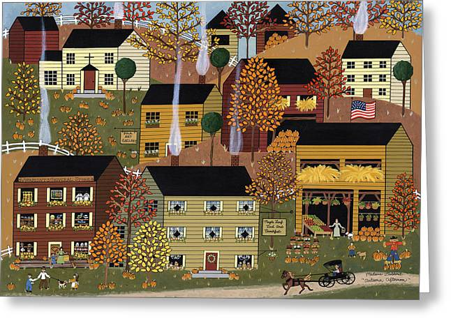 Farm Stand Paintings Greeting Cards - Autumn Afternoon Greeting Card by Medana Gabbard