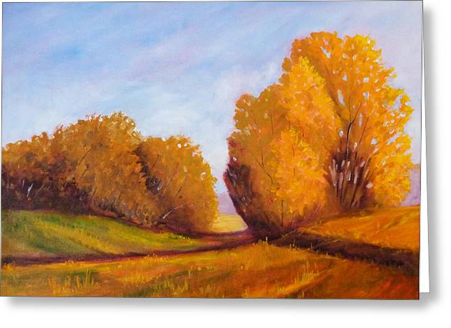 Nature Scene Paintings Greeting Cards - Autumn Afternoon Greeting Card by Nancy Merkle