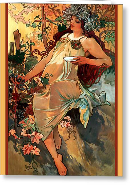 Woman In A Dress Greeting Cards - Autumn Greeting Card by Alphonse Maria Mucha