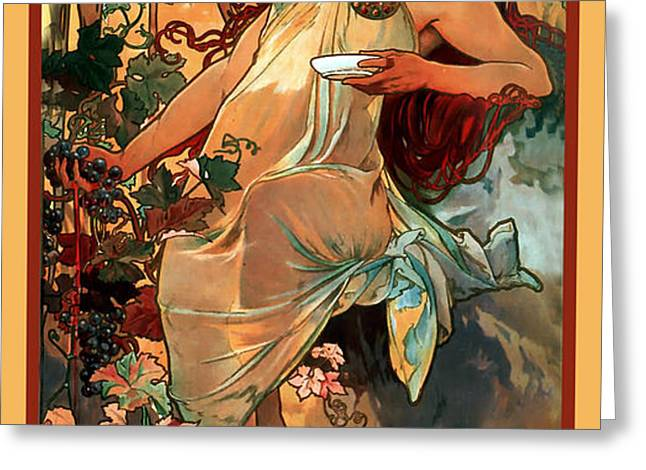 Autumn Greeting Card by Alphonse Maria Mucha