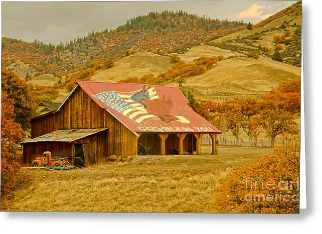 Metal Sheet Greeting Cards - Autumn and The American Barn Greeting Card by MaryJane Armstrong