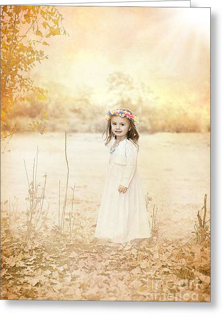 Yellow Sweater Greeting Cards - Autumn Angel Greeting Card by Cindy Singleton