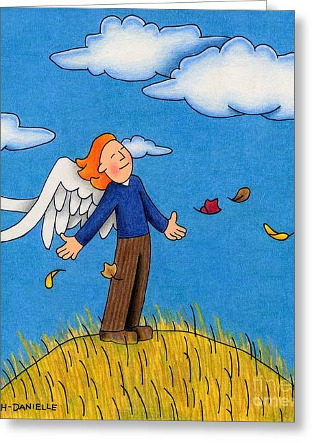 Uplifting Drawings Greeting Cards - Autumn Angel Greeting Card by Sarah Batalka
