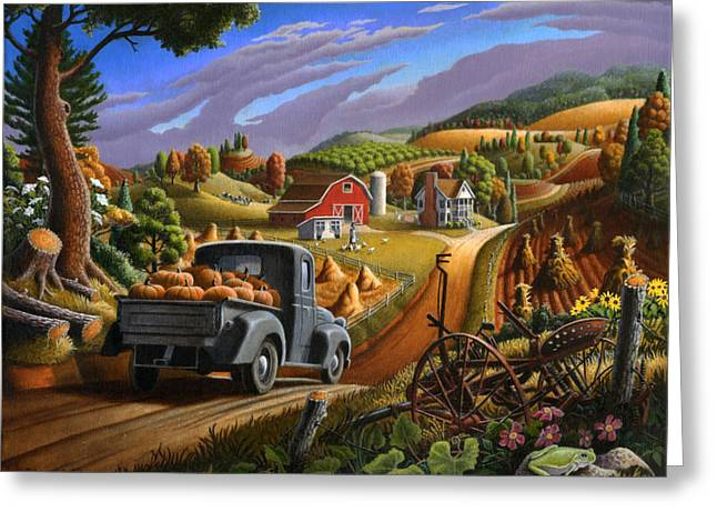 Pick-ups Greeting Cards - Autumn Appalachia Thanksgiving Pumpkins Rural Country Farm Landscape - Folk Art - Fall Rustic Greeting Card by Walt Curlee