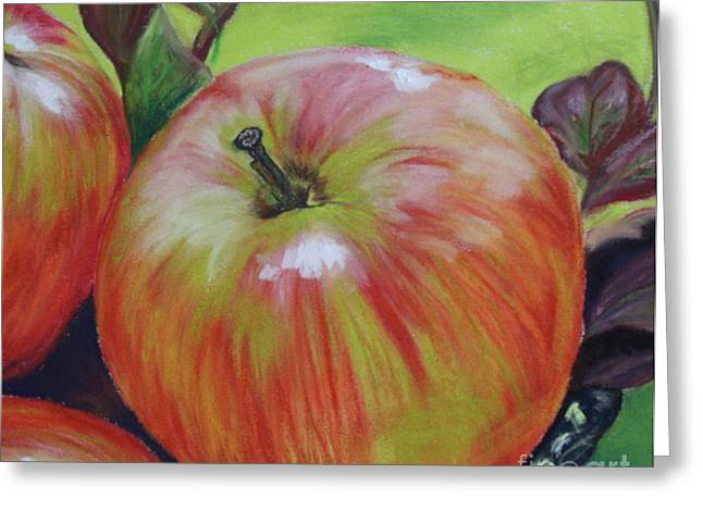 Apple Pastels Greeting Cards - Autumn Apples Greeting Card by Linda Eversole