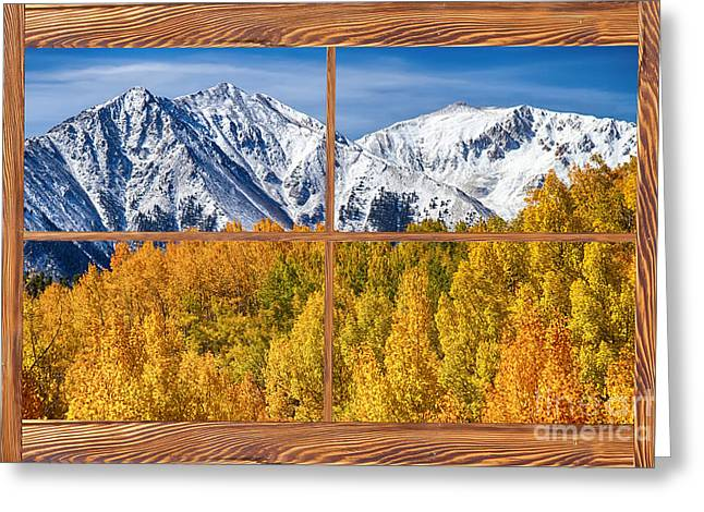 Room With A View Greeting Cards - Autumn Aspen Tree Forest Barn Wood Picture Window Frame View Greeting Card by James BO  Insogna