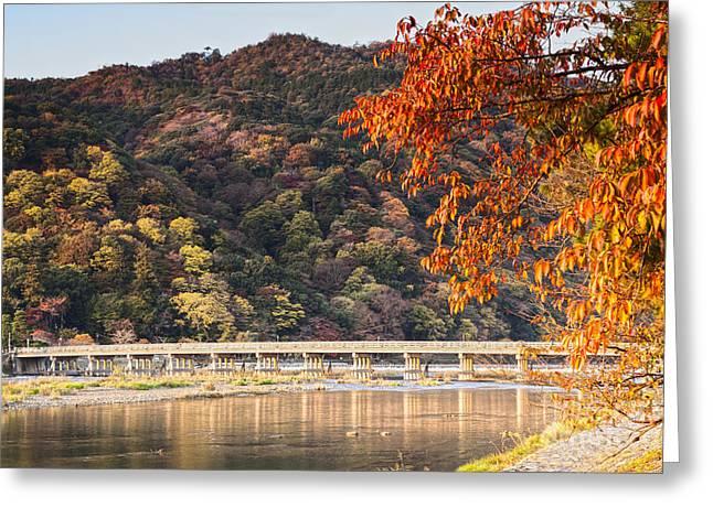 Weired Greeting Cards - Autumn at Arashiyama Kyoto Japan Greeting Card by Colin and Linda McKie