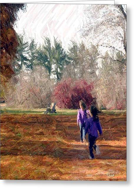 Beauty Tapestries - Textiles Greeting Cards - Autumn at Bernheim-Twins at Play I Greeting Card by Thia Stover