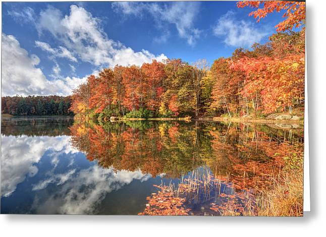 Reflections In River Greeting Cards - Autumn at Boley Lake Greeting Card by Jaki Miller