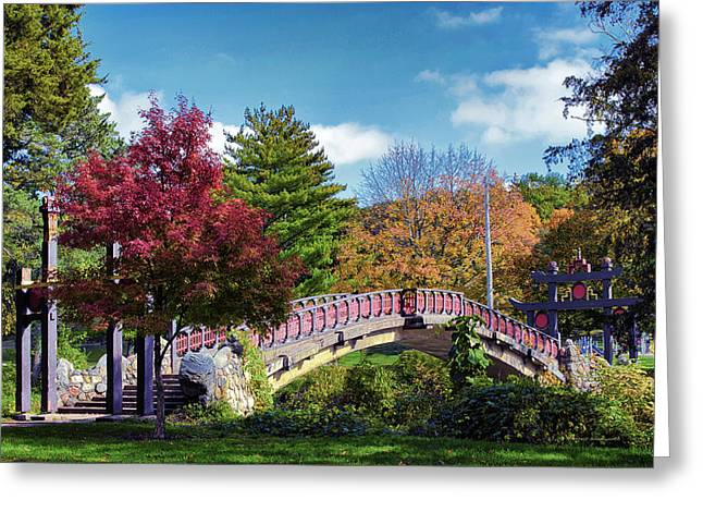 Park Scene Mixed Media Greeting Cards - Autumn At Bradley Park Japanese Bridge 03 Greeting Card by Thomas Woolworth