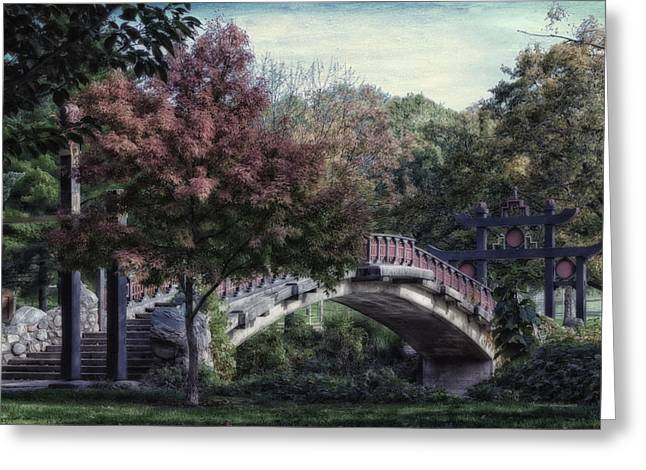 Park Scene Mixed Media Greeting Cards - Autumn At Bradley Park Japanese Bridge Textured Greeting Card by Thomas Woolworth