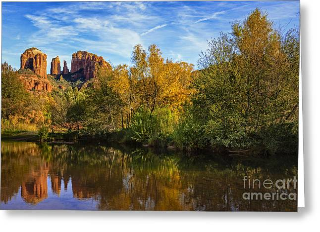 Cathedral Rock Greeting Cards - Autumn at Cathedral Rock Greeting Card by Medicine Tree Studios