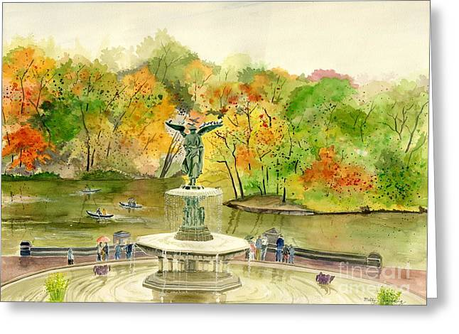 Boats In Water Greeting Cards - Autumn at Central Park NY Greeting Card by Melly Terpening