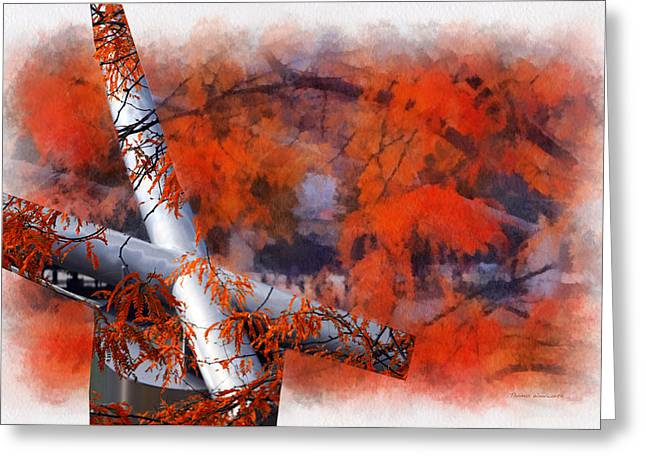 Stainless Steel Greeting Cards - Autumn At Chicago Pritzker Pavillion Mixed Media 01 Greeting Card by Thomas Woolworth