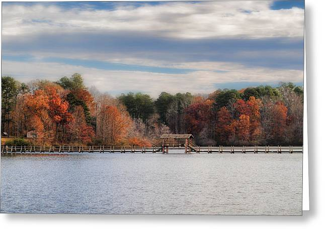 Fall Scenes Greeting Cards - Autumn at Chickasaw - Lake Scene Greeting Card by Jai Johnson