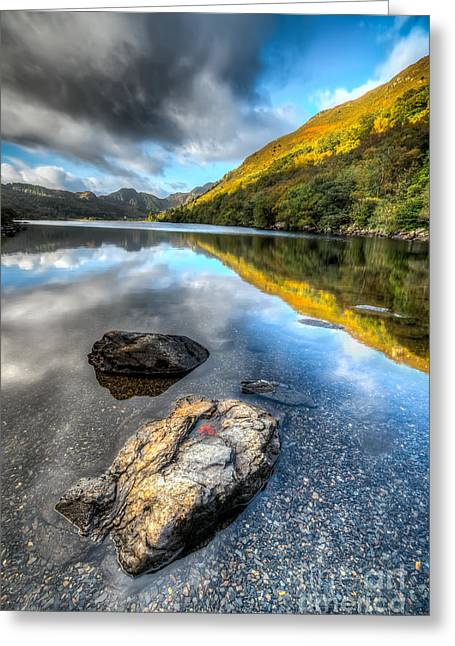 Stones Digital Art Greeting Cards - Autumn at Crafnant  Greeting Card by Adrian Evans