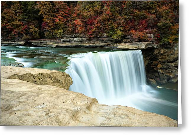 Colors Of Autumn Greeting Cards - Autumn at Cumberland Falls Greeting Card by Jaki Miller