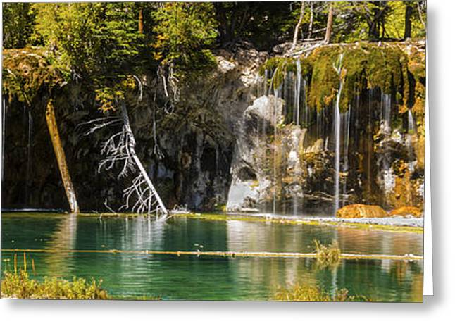 Beautiful Creek Greeting Cards - Autumn At Hanging Lake Waterfall Panorama - Glenwood Canyon Colorado Greeting Card by Brian Harig