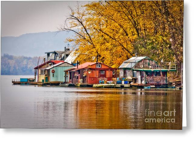 Boathouse Row Greeting Cards - Autumn at Latsch Island Greeting Card by Kari Yearous