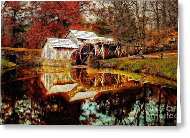Parkway Digital Greeting Cards - Autumn at Mabry Mill Greeting Card by Lianne Schneider