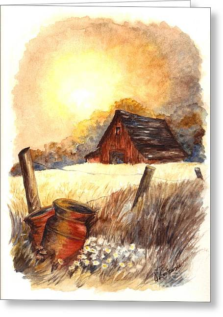 Sunset Greeting Cards Drawings Greeting Cards - Autumn at MacGregors Barn Vignette wc Greeting Card by Carol Wisniewski