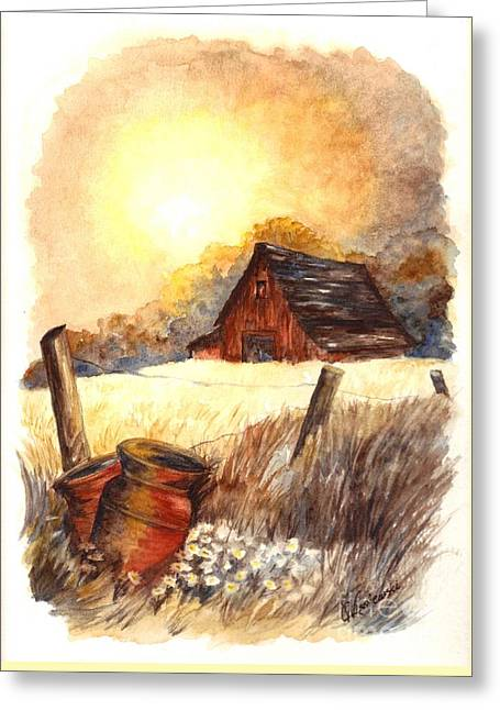 Sunset Greeting Cards Drawings Greeting Cards - Autumn on the Farm Greeting Card by Carol Wisniewski