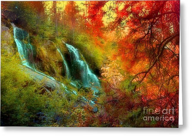 Naramata Greeting Cards - Autumn at Naramata Falls Greeting Card by Tara Turner