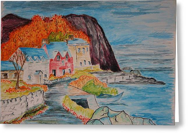 Golden Brown Drawings Greeting Cards - Autumn At Portbradden Greeting Card by Paul Morgan