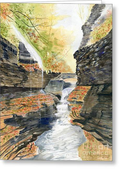 Finger Lakes Paintings Greeting Cards - Autumn at Rainbow Falls Greeting Card by Melly Terpening