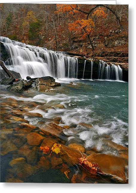 Richland Creek Greeting Cards - Autumn at Richland Falls Greeting Card by Jeff Rose