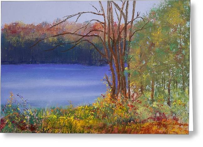 Fall Colors Pastels Greeting Cards - An Autumn Day at Cary Lake Greeting Card by David Patterson