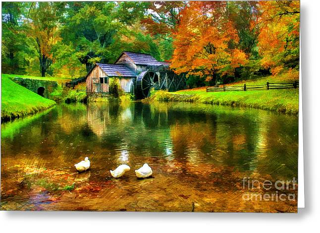 Reminiscent Greeting Cards - Autumn at the Mill Greeting Card by Darren Fisher