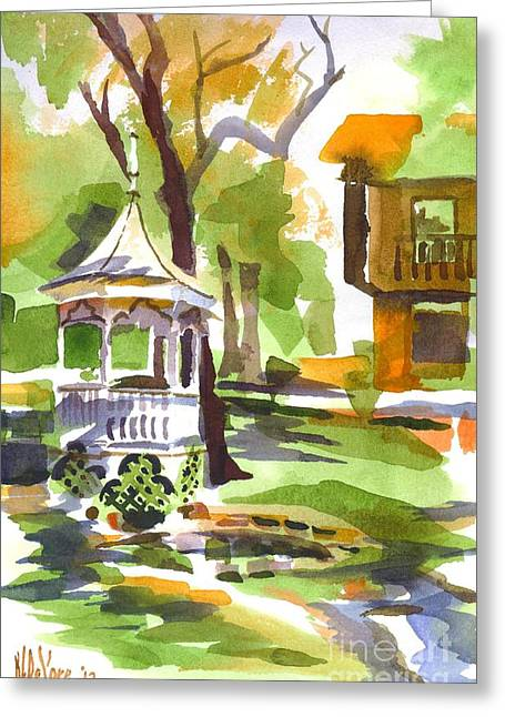 Foggy Day Greeting Cards - Autumn at the Rectory Greeting Card by Kip DeVore