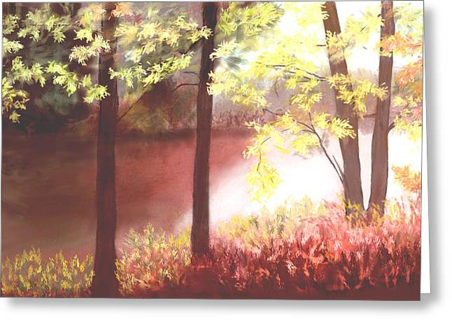 Zelma Hensel Greeting Cards - Autumn at the River Greeting Card by Zelma Hensel