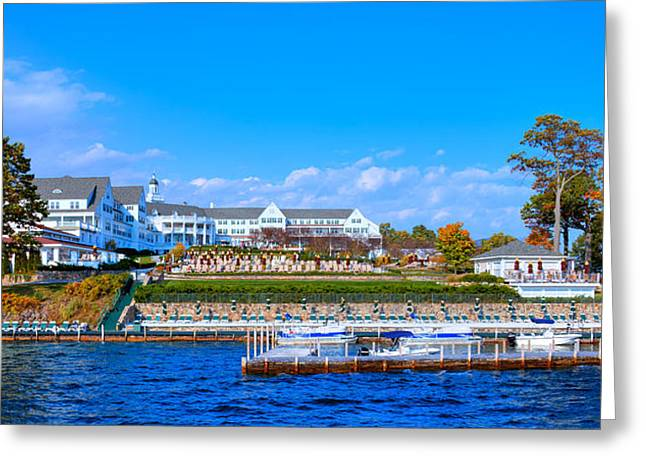 Fir Trees Greeting Cards - Autumn at the Sagamore Hotel - Lake George New York Greeting Card by David Patterson