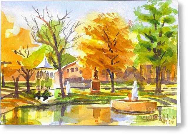 Reflection On Pond Greeting Cards - Autumn at the Villa Greeting Card by Kip DeVore