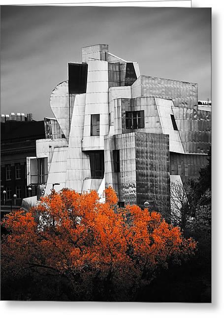 University Of Minnesota Greeting Cards - autumn at the Weisman Greeting Card by Matthew Blum