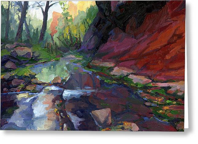 West Fork Paintings Greeting Cards - Autumn at West Fork Greeting Card by Russell  Johnson