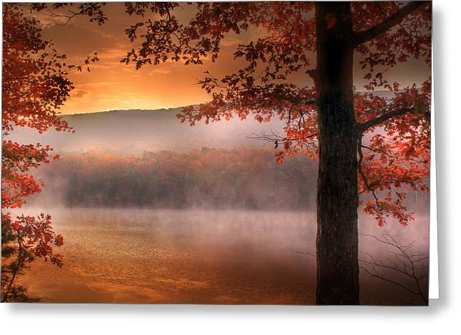 Beautiful Creek Greeting Cards - Autumn Atmosphere Greeting Card by Lori Deiter