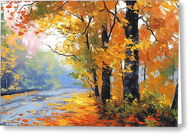 Blaze Greeting Cards - Autumn Backlight Greeting Card by Graham Gercken
