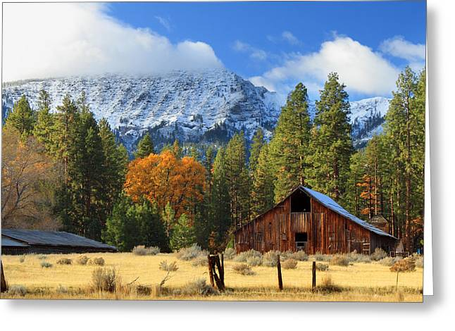 Spectacular Greeting Cards - Autumn Barn At Thompson Peak Greeting Card by James Eddy