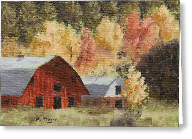 Acrylic Art Greeting Cards - Autumn Barn Duo Greeting Card by Alan Mager