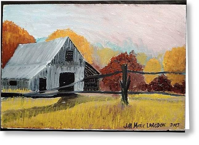 Old Maine Barns Paintings Greeting Cards - Autumn Barn Greeting Card by Jill Langdon