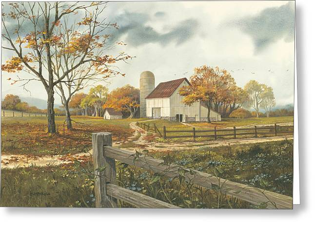 Dirt Road Greeting Cards - Autumn Barn Greeting Card by Michael Humphries
