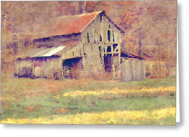 Gravel Road Greeting Cards - Autumn Barn Greeting Card by Ryan Burton